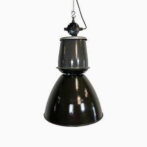 Large Industrial Black Enamel Lamp from Elektrosvit, 1960s