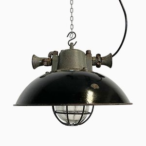 Industrial Black Enamel and Cast Iron Cage Pendant Light, 1950s