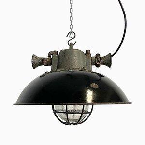 Lampe à Suspension Industrielle Cage en Émail Noir et Fonte, 1950s