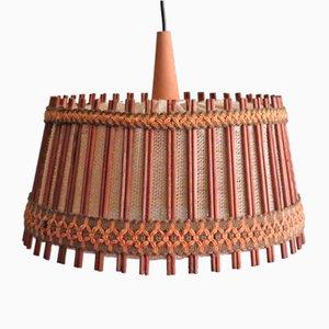 Lampe à Suspension en Jute et Teck de Massive, Belgique, 1960-1970