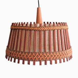 Pendant Lamp in Jute and Teak from Massive, Belgium, 1960-1970