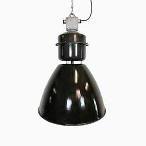 Grande Lampe d'Usine Industrielle en Émail Noir de Elektrosvit, 1960s