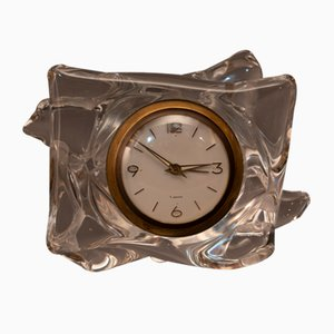 Mid-Century French Crystal Table Clock from Schneider
