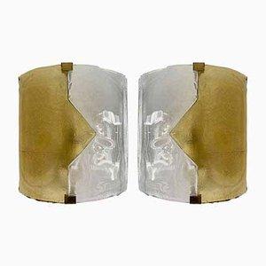 Apliques italianos en forma de flecha de cristal de Murano amarillo de Mazzega, años 70. Juego de 2
