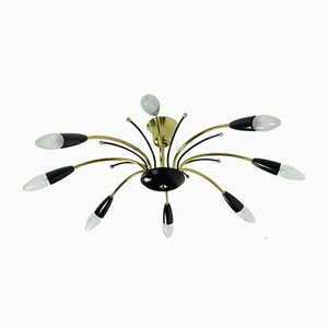 Mid-Century Brass, Metal & Black Plastic Sputnik Spider Chandelier in the Style of Stilnovo, 1950s