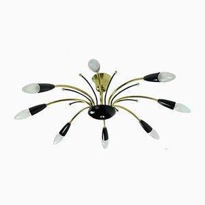 Mid-Century Sputnik Spider Kronleuchter aus Messing, Metall & schwarzem Kunststoff im Stil von Stilnovo, 1950er