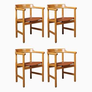 Sedie da pranzo in quercia di Hans J. Wegner per PP Møbler, set di 4