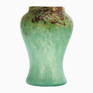 Art Deco Glass Vase in Sea-Green and Red with Gold Aventurine from Monart, 1930s