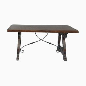 Spanish Rustic Wood and Wrought Iron Dining Table, 1950s