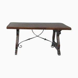 Tavolo da pranzo rustico in legno e ferro battuto, Spagna, anni '50