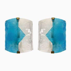 Applique in vetro di Murano blu di Mazzega, Italia, anni '70, set di 2