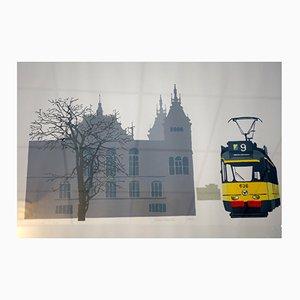 Linoleumdruck einer Amsterdamer Straßenbahn von Peter Drenth, 1986