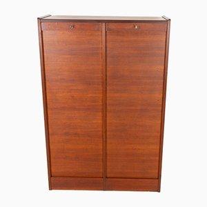 Danish Teak Cabinet with Tambour Doors, 1960s