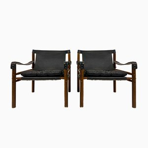 Leather and Rosewood Sirocco Safari Chairs by Arne Norell, Set of 2