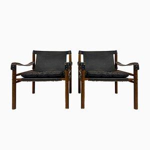 Sirocco Safari Stühle aus Leder & Palisander von Arne Norell, 2er Set