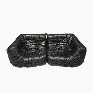 Schwarze Togo Sofa Eckmodule aus schwarzem Leder von M. Ducaroy für Ligne Roset, 2er Set