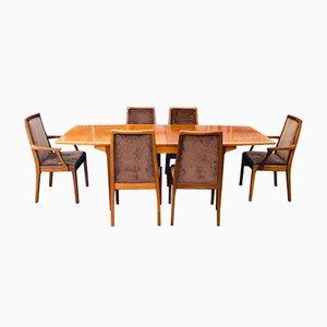 Ausziehbarer Mid-Century Teak Esstisch und 6 Stühle von Nathan, 7er Set