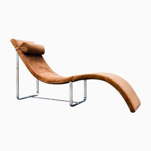 Chaise longue allungabile Mid-Century in pelle, Italia