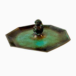 Art Deco Bronze Dish with Monkey by Holger Fridericias, 1930s