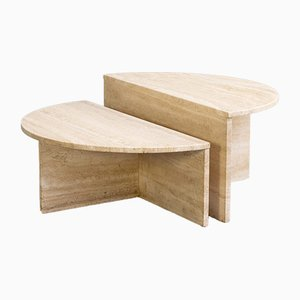 Round Travertine Coffee Tables from Up&up, 1970s, Set of 2