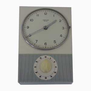 Ceramic Ato-Mat Wall Clock with Egg Timer by Junghans, 1950s