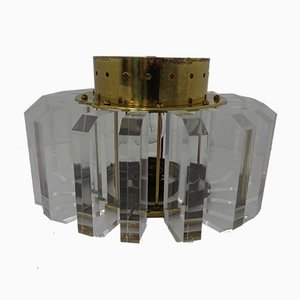 Italian Brass & Plexiglass Ceiling Lamp, 1960s