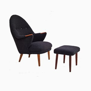Danish Armchair with Stool, 1960s, Set of 2