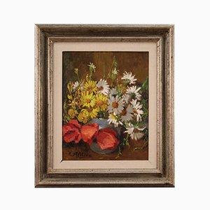 Pintura de naturaleza muerta, siglo XX, óleo sobre lienzo