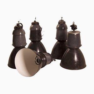 Emaillierte Fabriklampe von EFC, 1950er