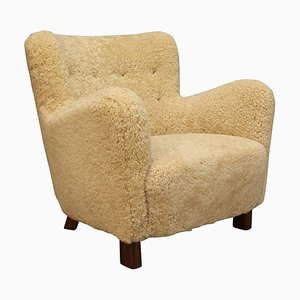 Shearling Lounge Chair from Fritz Hansen, 1940s