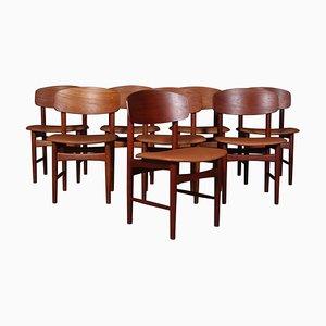 Teak Esszimmerstühle von Børge Mogensen, 8er Set