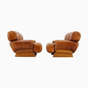 Italian Armchairs in Wood and Cognac Leather, 1970s, Set of 2