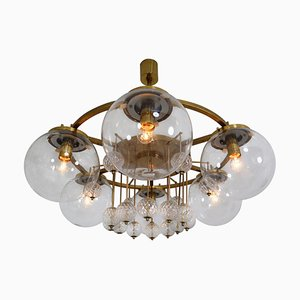 Large Hotel Chandelier in Brass and Hand Blown Glass, Europe, 1970s