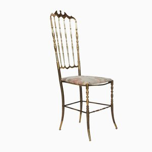 Italian Chair with Floral Seating by Giuseppe Gaetano Descalzi for Chiavari