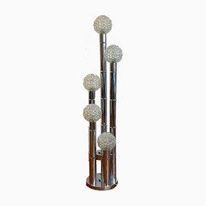 Lámpara de pie de cromo, años 80