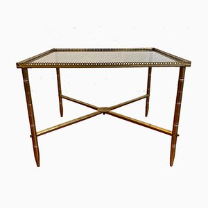 Neoclassical Living Room Table with a Golden Brass Frame