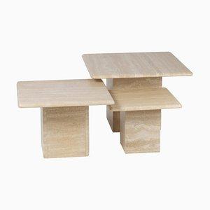 Mesas nido de travertino. Juego de 3