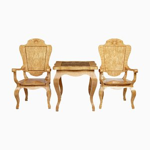 20th Century Burr Birch Games Table and Armchairs, Set of 3