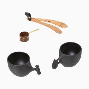 Tassen, Kaffeelöffel und Zange von Hokuto Sekine, Japan, 4er Set