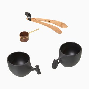 Tazas, cucharas de café y pinzas de Hokuto Sekine, Japón. Juego de 4