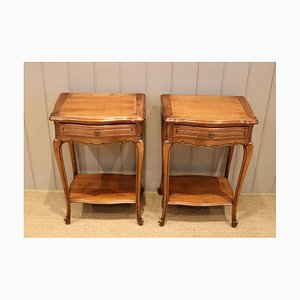 French Cherry Wood Tables, Set of 2