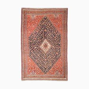 Tappeto antico geometrico rosso scuro con bordo e rombi