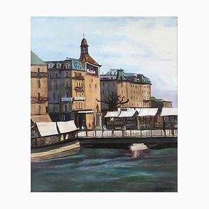 Benjamin II Vautier, Genève, vue de la place Bel-Air et Pont de l'Ile, un jour de marché, 1953, Oil on Canvas
