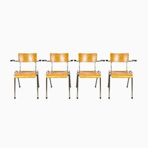 Sedie da scuola vintage in legno con braccioli, set di 4