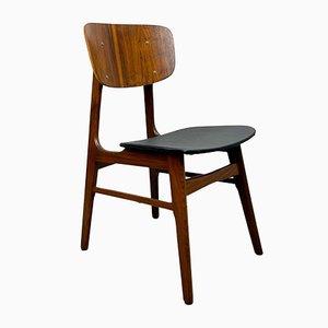 Vintage Stuhl aus Teak mit schwarzem Sitz