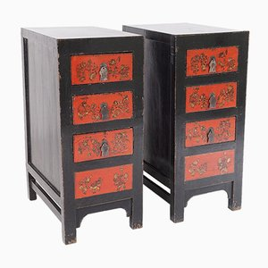 Black Lacquered Nightstands, Set of 2