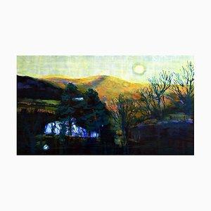 Andrew Francis, Pont Ceri Sunset I, 2021, Oil on Board, Framed