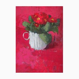 Jill Barthorpe, Red Primula, 2020, óleo sobre lienzo, enmarcado