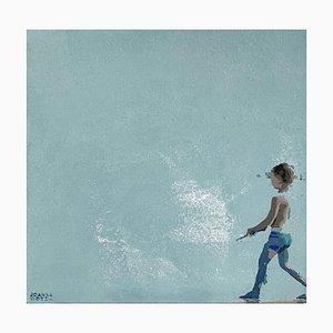 Joanna Woyda, Boy in Blue Shorts, 2021, acrílico sobre lienzo