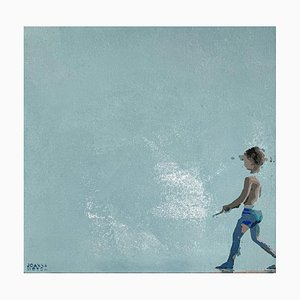 Joanna Woyda, Boy in Blue Shorts, 2021, Acryl auf Leinwand